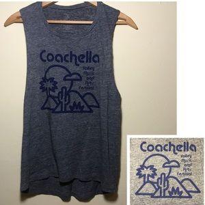 COACHELLA GRAPHIC PRINT TANK TOP GRAY BLUE SMALL